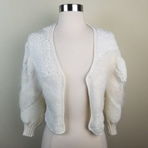 Vintage 1980's Cropped Open Front Angora Sweater